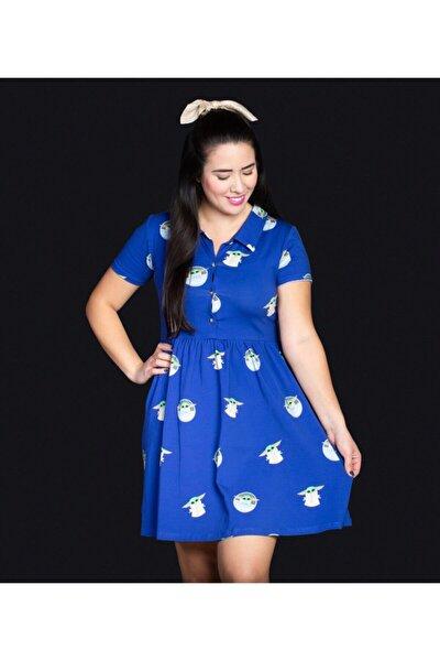 Kadın Mavi Desenli Elbise