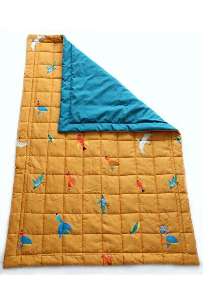Sarı Renkli Kuşlar Pamuklu Kumaş Silikon Elyaf Yorgan 95x145cm