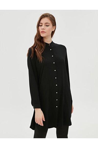 Parlak Düğmeli Tunik Siyah Sz 21505