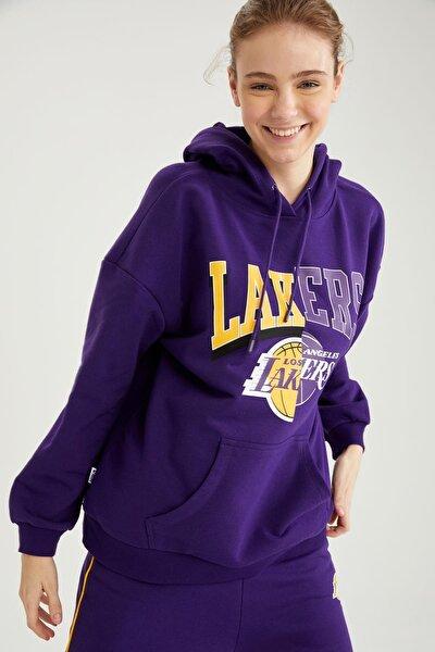 Kadın Lakers Lisanslı Kapüşonlu Relax Fit Sweatshirt T5410AZ21SP