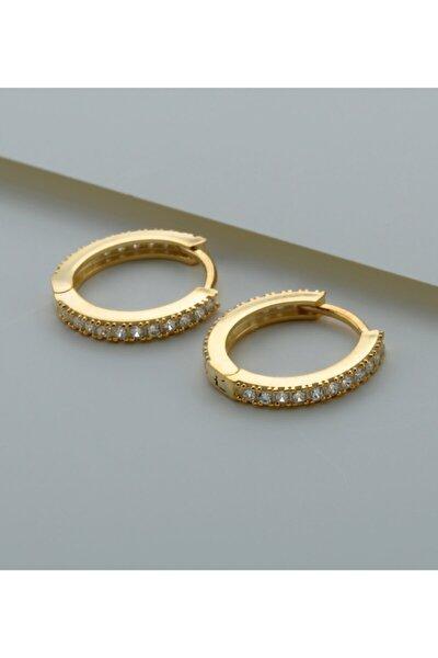 925 Ayar Gümüş Tek Sıra Taşlı Halka Küpe (Gold)