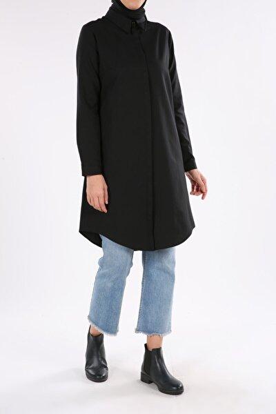 Kadın Siyah Gizli Patlı Gömlek Tunik