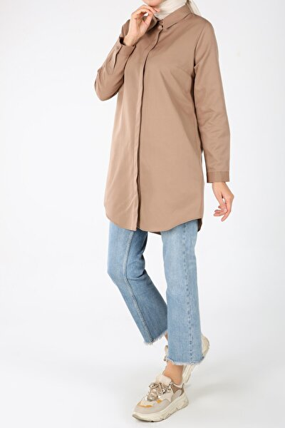 Kadın Toprak Gizli Patlı Gömlek Tunik