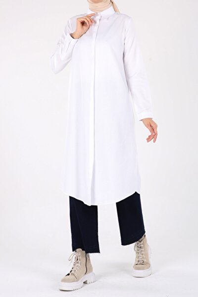 Beyaz Gizli Patlı Gömlek Tunik