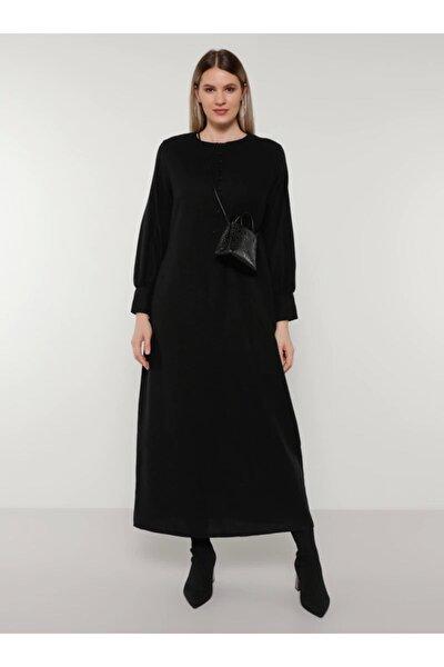 Büyük Beden Doğal Kumaşlı Brit Detaylı Elbise - Siyah -