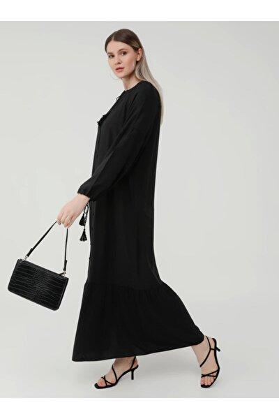Büyük Beden Yakası Ve Kol Uçları Bağcıklı Hacimli Elbise - Siyah-