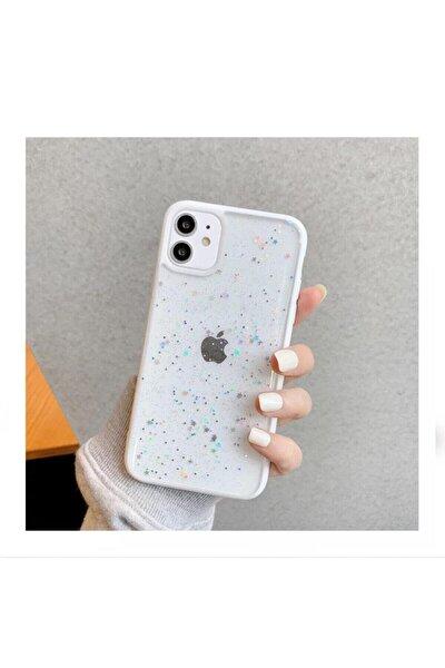 Iphone 11 Uyumlu Kenarı Beyaz Renkli Simli Darbe Önleyici Silikon Kılıf