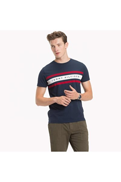 Stripe Print Logo Men T-shirt Erkek T-shirt