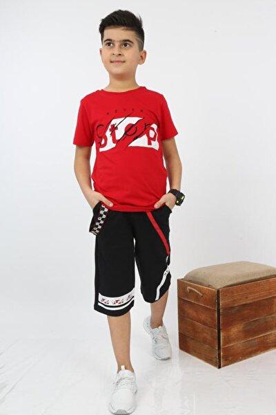Erkek Çocuk Kırmızı Kapri Şerit Aksesuarlı Takım
