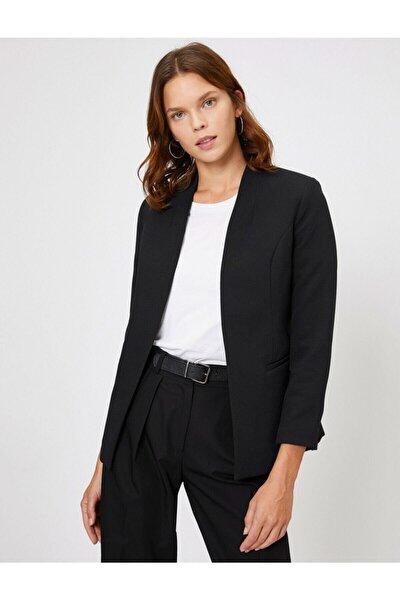 Kadın Siyah Cep Detayli Ceket 0KAK52698UW