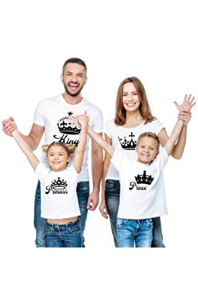 Erkek Beyaz King Queen Prince Princess Baskılı Pamuklu 4 Lü Aile Tişörtleri Kombini
