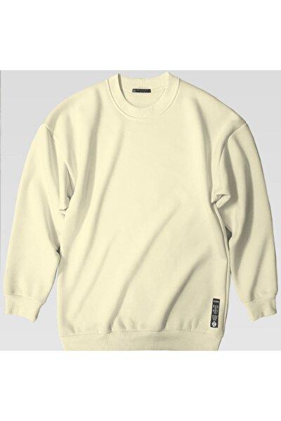 Kadın Ekru Basic 0 Sıfır Yaka Baskısız Düz Oversize Salaş Bol Kesim Polar Sweatshirt