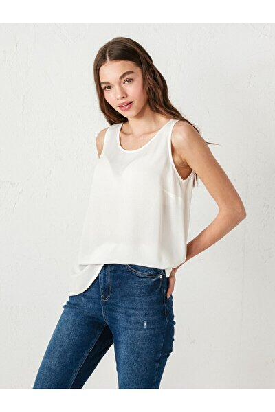 Kadın Beyaz Kalın Askılı Bluz