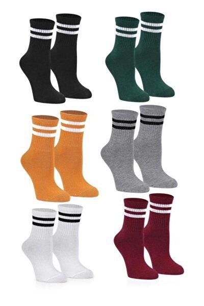 Karışık Renk Çizgili Kolej Tenis Çorabı 6'lı
