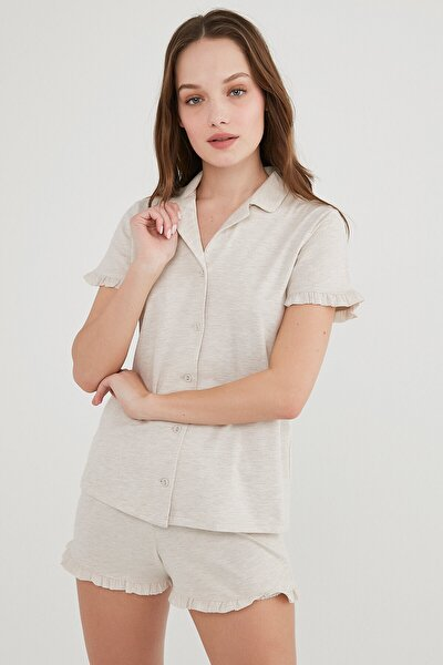 Frill SS  Gömlek Şort Pijama Takımı
