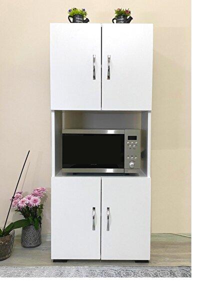 4 Kapaklı Orta Bölmeli Çok Amaçlı Beyaz Mikrodalga Fırın Dolabı, Mini Fırın Mutfak Dolabı
