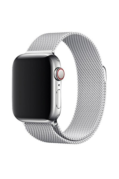 Apple Watch Serisi Uyumlu Hasır Silver Kordon 42mm - 44mm