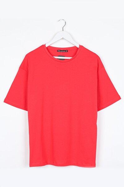 Koyu Pembe Kadın Basic Oversize Tshirt