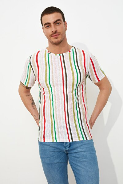 Çok Renkli Erkek Slim Fit Bisiklet Yaka Baskılı Kısa Kollu T-Shirt TMNSS21TS1206