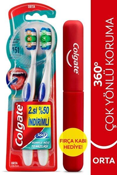 360 Komple Ağız Temizliği Çok Yönlü Koruma Orta Diş Fırçası 1+1 Fırça Kabı Hediye