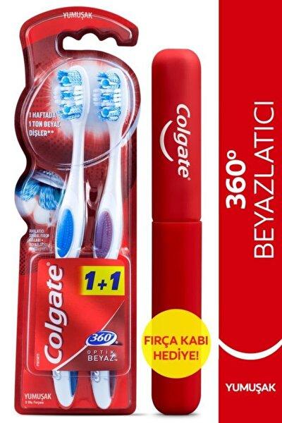 360 Optik Beyaz  Yumuşak Beyazlatıcı Diş Fırçası 1+1 Fırça Kabı Hediye