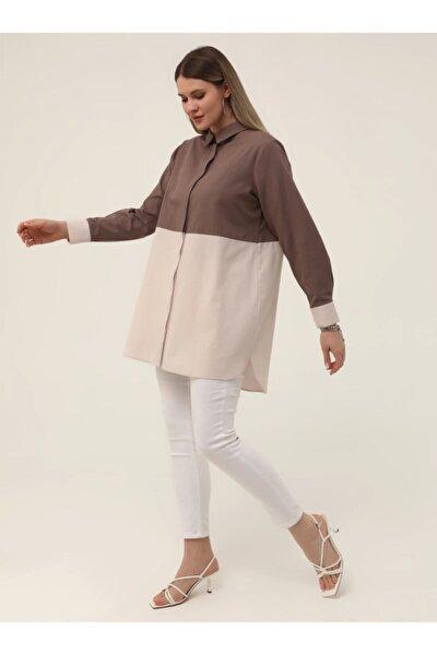 Kadın Soğuk Mor Kristal  Büyük Beden Gizli Düğmeli Garnili Tunik