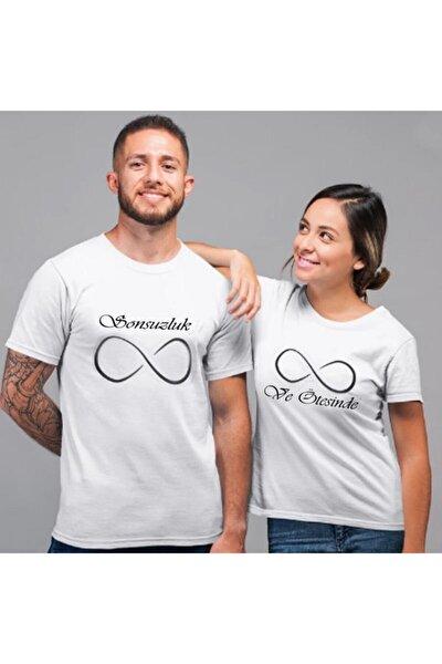 Sevgili Tişörtleri Bay Bayan Çift Kombini Sonsuzluk Ve Ötesi Beyaz Tişört 2 Adet