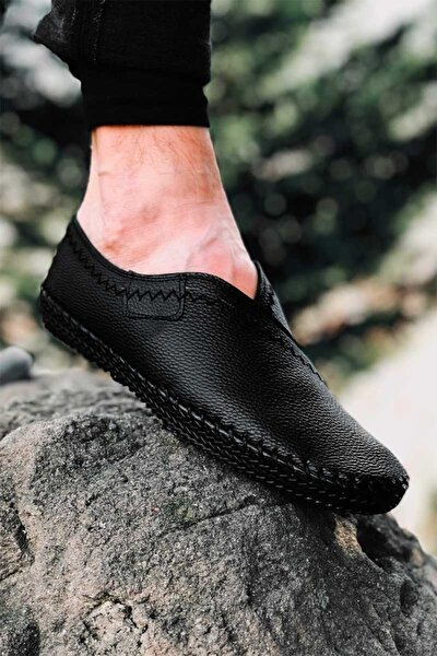 Erkek Siyah Tam Ortopedik Çarık Model Günlük Ayakkabı