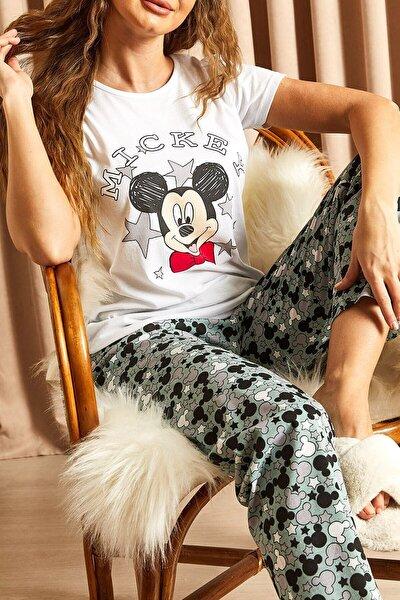 Kadın Çağla Yeşili Desenli Mickey Baskılı Pijama Takımı