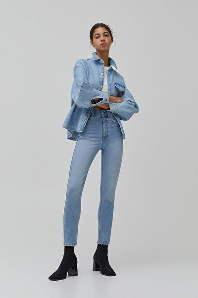 Kadın Süper Yüksek Bel Slim Fit Mom Jean