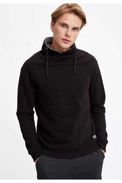 Şal Yaka Slim Fit Basic Sweatshirt