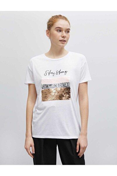 Kadın Ekru-84687 T-Shirt