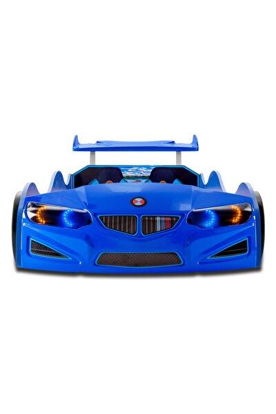 Bmw - Gt1 - Arabalı Yatak Araba Karyola - Tekerleri Ledli - Mavi
