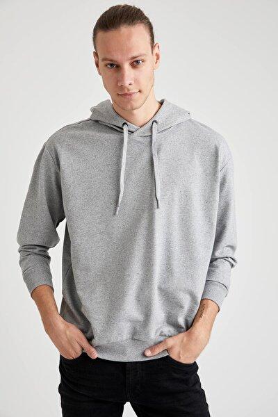 Erkek Gri Oversize Fit Sweatshirt S3515AZ20AUGR