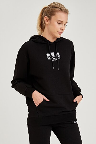 Kadın Siyah Kapüşonlu Nakışlı Sweatshirt S8115AZ20WN
