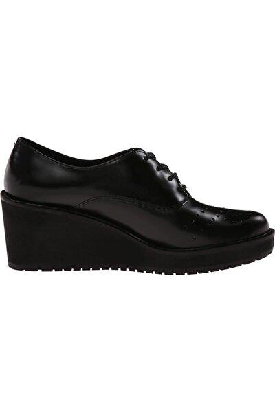 Kadın Siyah Deri Ortopedik Ayakkabı Topuk 7 Cm Comfort Game Oval