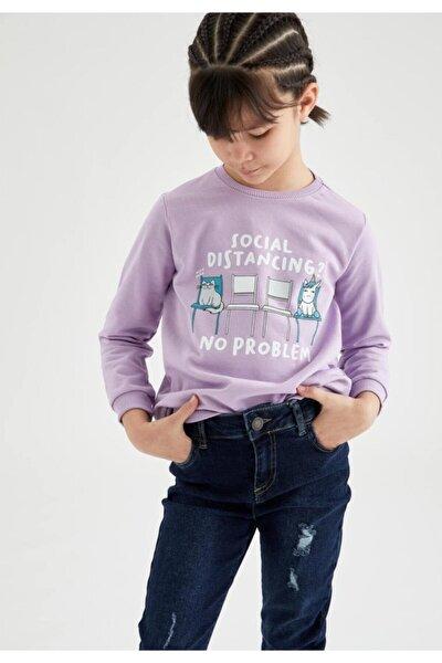 Kız Çocuk Yazı Baskılı Sweatshirt