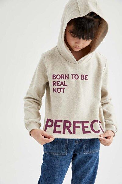Kız Çocuk Yazı Baskılı Kapüşonlu Sweatshirt