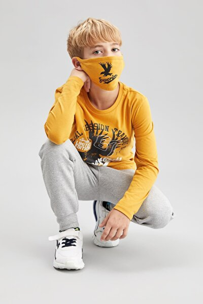Erkek Çocuk Baskılı Tişört Maske Takım