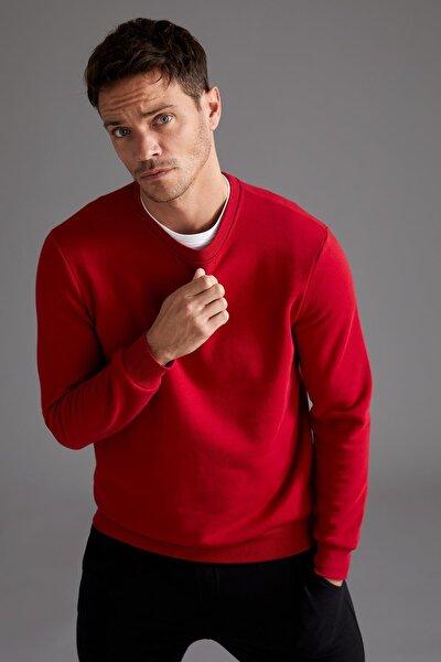 Erkek Kırmızı Regular Fit Bisiklet Yaka Basic Pamuklu Sweatshirt T3777AZ20WNRD