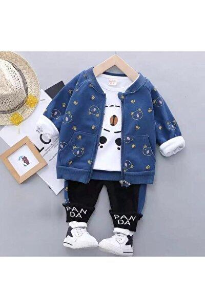Bebek Hırkalı Takım 3 Lü Panda Detay 0 3 6 9 12 Ay