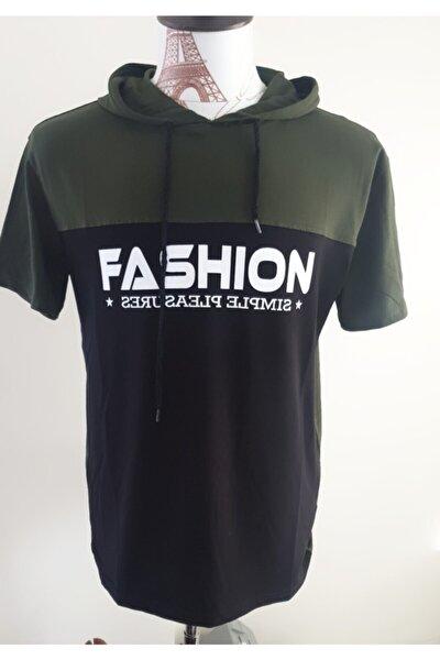 Yazı Detaylı Çok Renkli Kapuşonlu T-shirt