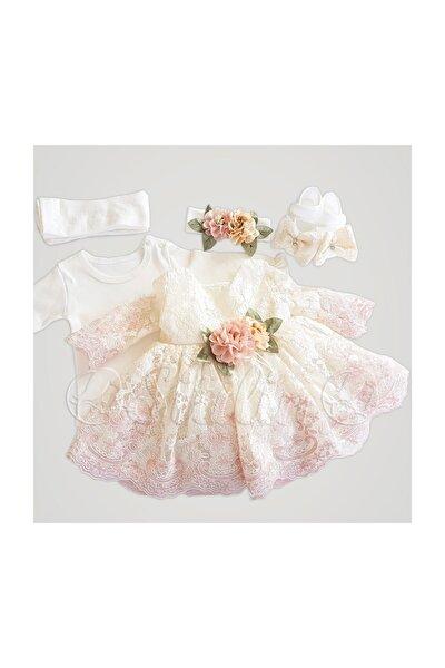 Kız Bebek Pembe Fransız Dantelli Elbise