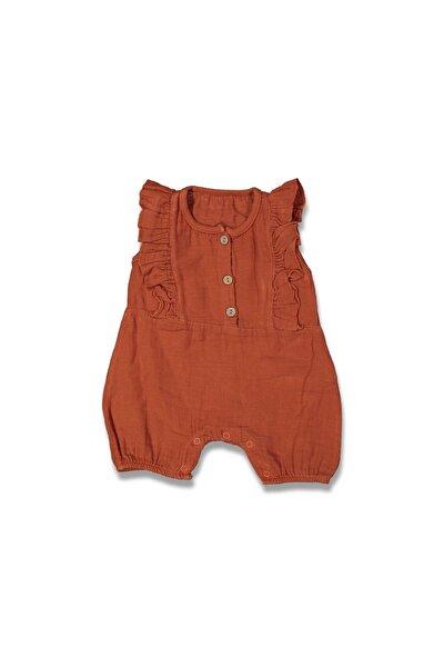 Kız Bebek Kahverengi Fırfırlı Düğmeli Yazlık Müslin Tulum