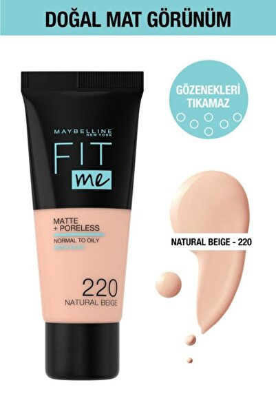Fit Me Matte+poreless Fondöten - 220 Natural Beige