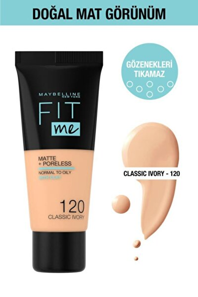 Fit Me Matte+poreless Fondöten - 120 Classic Ivory