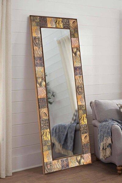 Lyon Doğal Ağaç 62x152 Cm Çerçeveli Antik Limra Taş Kaplı Salon Duvar Konsol Boy Aynası