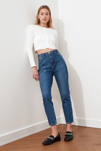 Koyu Mavi Yüksek Bel Mom Fit Jeans TWOSS21JE0016