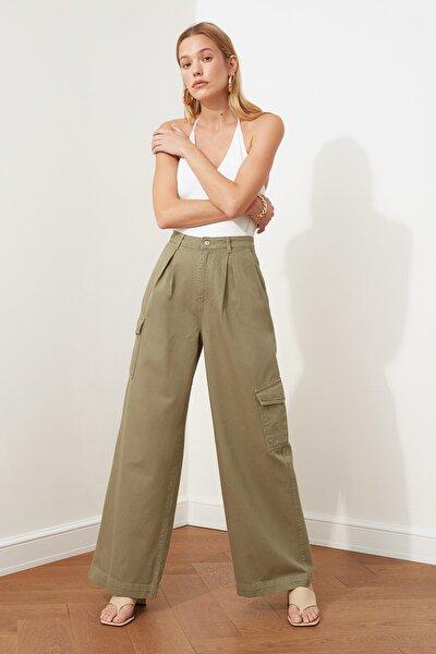 Haki Pileli Cep Detaylı Yüksek Bel Wide Leg Jeans TWOSS21JE0005