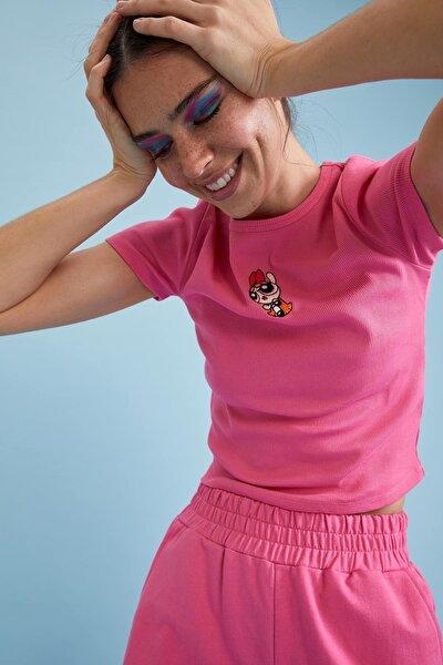 Coool Powerpuff Girls Lisanslı Bisiklet Yaka Crop Tişört
